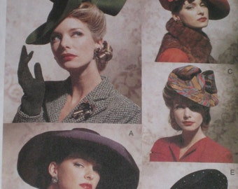 Wide Brim Titled Hats Vintage Styled ladies Berets 1930s 1940s  Vogue 7464 Head Wear Sewing Pattern