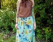 Vintage Floral High Waisted Maxi Skirt~Long Skirt~Elastic Waist Skirt~Woman's Maxi Skirt~Summer Skirt~Casual Skirt~Maternity~Plus Size Skirt
