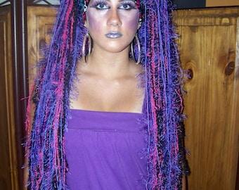 Purple Wig, Purple Dreadlock Wig, Yarn Dread Wig, Yarn falls, Burning Man, Cosplay, Wig, Dread falls, Purple Dreads, Purple Dreadlocks