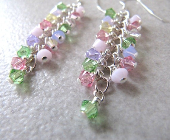 Sherbet Shower cluster earrings - Swarovski crystals, Sterling Silver