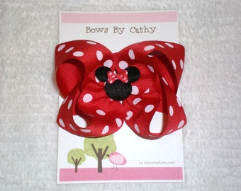 Red Minnie Mouse Bow - Toddler Hair Bow - Girls Hair Bow - Minnie Mouse Bow - Baby Hair Bow