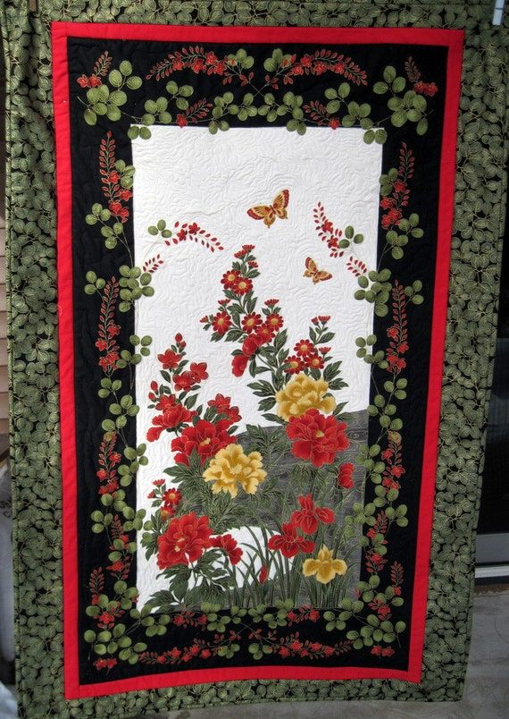 Quilted wall hanging  Butterflies in the garden