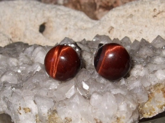 8mm Red Tiger Eye Stud Earrings Earings Titanium Posts and Clutches Hypo Allergenic Handmade in Newfoundland Grace