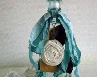 Vintage Decorated Medicine Bottle Cottage Decor by avintageobsession on etsy