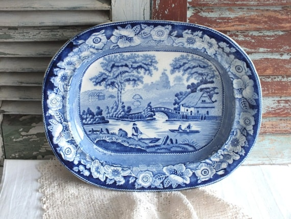 Blue Transferware English Victorian Platter by avintage obsession on etsy