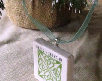 Personalized Celtic Knot Ornament - Emerald Green - St. Patrick's Day - Wedding Gift