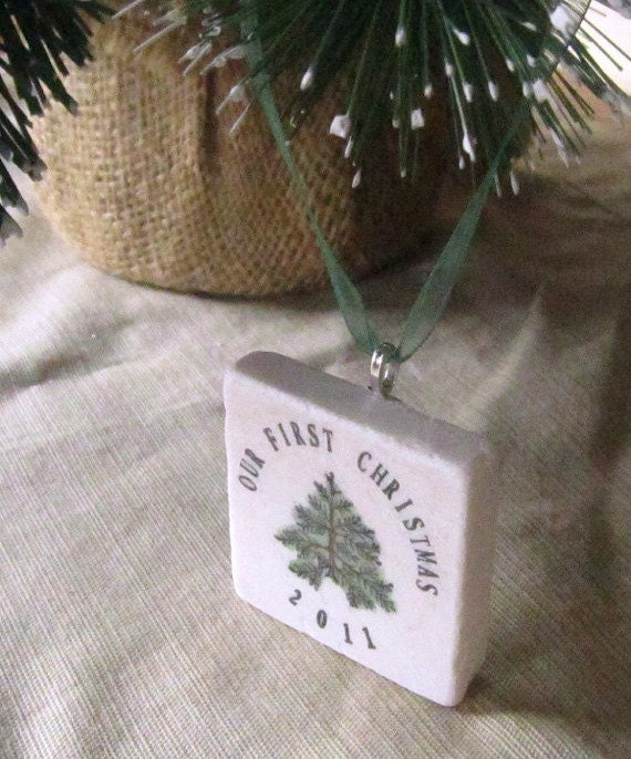 Our First Christmas Holiday Ornament - Christmas Tree Design - For the Couple - Gift Box