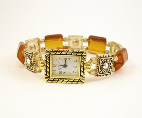 Stretchy Bracelet Watch - Honey and Gold Faceted Czech Glass with Swarovski Crystal Accents