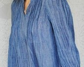 Organic Cotton blouse hand dyed indigo blue in all sizes, immediate delivery