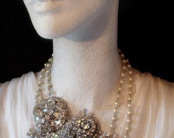 Vintage Bridal Wedding Necklace. A Neck Bouquet. Downpayment for a Kay Adams Custom Bridal Rhinestone Wedding Necklace.
