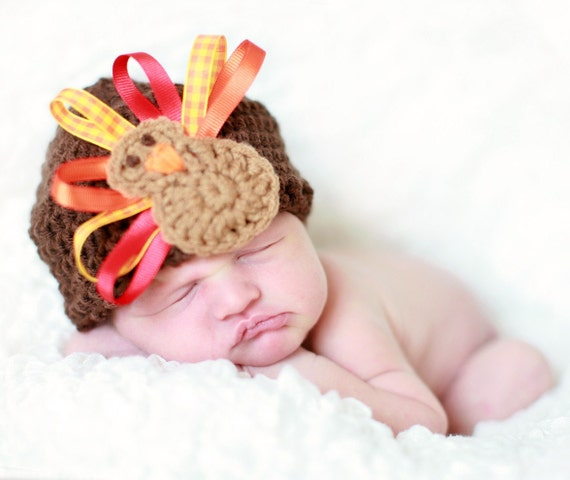 Crochet Turkey Hat Thanksgiving Beanie with Ribbon Feathers - Brown, Red, Orange, Yellow - Size 3 - 6 Month Knit Crochet Baby Hat