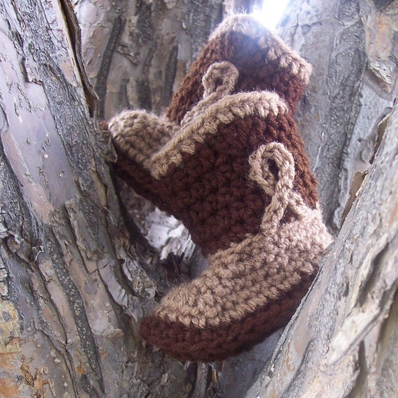 Cowboy Boots Crochet Booties Brown and Tan Baby Shoes in Size 3 - 6 months