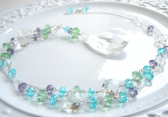 Necklace Purple Lime Aqua Chandelier Crystal Drop