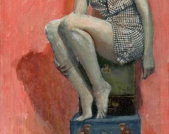 Bon Voyage, Pinup,  Art Print, Archival Print, Vintage Dress, Vintage Suitcases, Pink