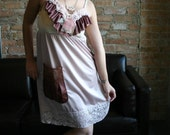 Reconstructed Slip Dress // Pink Lace Dress // Recycled Clothing // Size Small