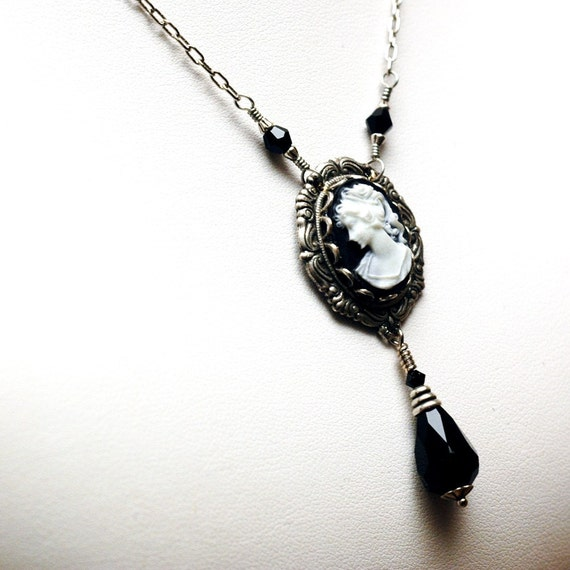 Victorian Cameo Necklace - Classic White On Black Cameo - Rosary Style Necklace - Antiqued Silver Setting With A Jet Black Crystal Teardrop