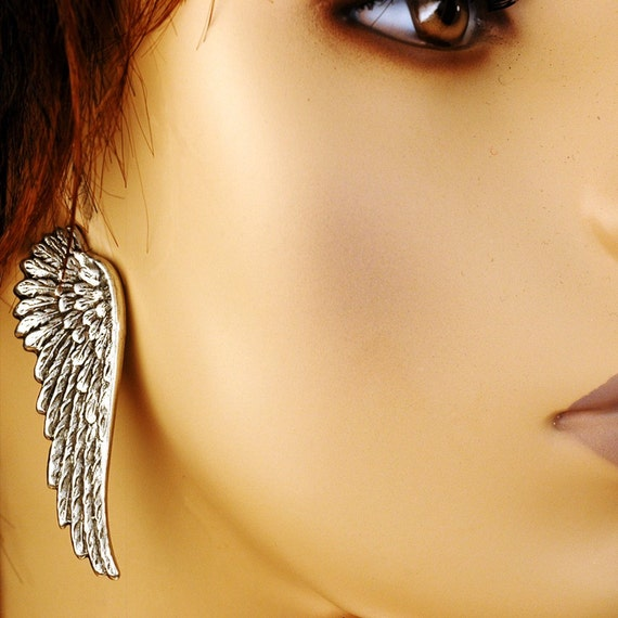 Dark Angel -- Wing Earrings In Antiqued Silver - The Flight Series - Ear Wings Are Lead and Nickel Free - With Hypoallergenic Posts