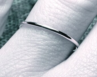 Thin wedding band/ solid 14k WHITE gold/ handmade ring/ full round/ 1.3 mm band/ smooth plain & simple/ 14 karat WHITE gold/ spacer ring