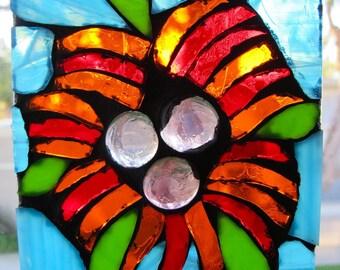 Tropical Flower Stained Glass Suncatcher