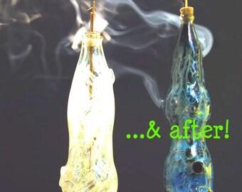 "Hand Blown Glass Incense Burner Color Changing Smoking Bottle: ""Swirls"" design"