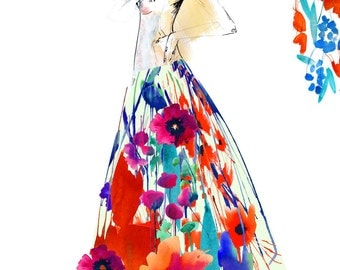 Flourish II // A3 Giclée print // Fashion illustration by Holly Sharpe