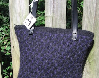 Black and Purple Herringbone Purse Wool Hand Knitted Felted Custom Lined
