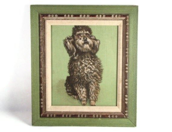 Good Puppy - Vintage 50s Sitting Poodle Printed Fabric Picture in Moss Green Frame, Wonderful Expression on This Dog's Face