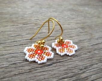 Earrings - Orange Tree Flora - White. Bright Orange, Orange rainbow luster and Metallic Spring Green - Gold or Silver