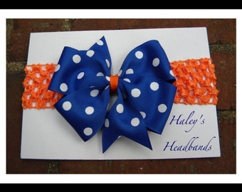 Gator Blue w/ White Polka Dots Baby to Girl Headband