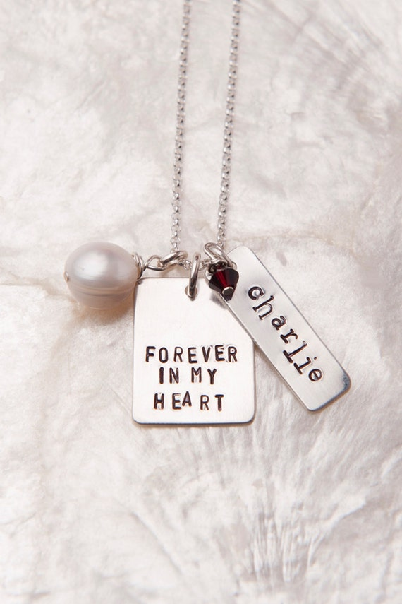 Forever in My Heart Birthmom Necklace, Birth Mother Gift, Personalized Hand Stamped Jewelry