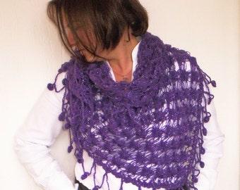 Shawl - fringe shawl - Purple Shawl - Wedding Bridal Shawl - Gift for her -Crochet Lace Shawl - Accessories - Women accessories - mom - wife
