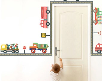 Terrific Trucks & Straight Gray Road Wall Decals, Peel and Stick Removable and Reusable Eco-friendly Fabric Wall Stickers