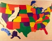 Wooden Puzzle of the USA - a CLASSIC wooden toy- teaches States and Capitals- a great educational toy for kids and adults studying geography