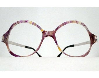 Mod Frame Italy Cat Eye Glasses Napoleon Dynamite Marbled NOS Violet Aviator Bubble Cat Bug Eye Glasses Astro Driver Sportscaster Boho Chic
