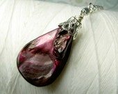 Big Mother of Pearl - magenta purple necklace / mother of pearl / magenta silver necklace / shell necklace / purple necklace