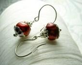 I Feel Pretty - red pearl earrings / red earrings / freshwater pearls / drop pearl earrings / pearl earrings