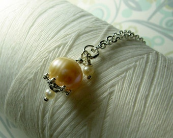 Precious Little Pearl - peach pearl necklace / pearl necklace / peach necklace / sterling silver / bridal jewelry / champagne pearls