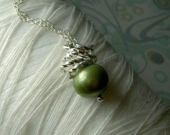 Jump In the Water is Fine - green pearl necklace / silver ring necklace / pearl necklace / green pea necklace / green necklace