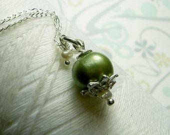 Precious Little Pearl - green pearl necklace / pea green necklace / pearl necklace / green necklace / bridal jewelry / pearl jewlery