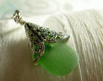 Silver Petticoats - green sea glass necklace / sea glass necklace / green necklace / green seaglass pendant / beach wedding