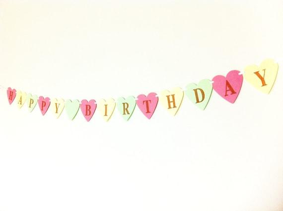 HAPPY BIRTHDAY Pastel Heart Shaped Banner