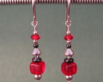 Sterling Silver Red Glass Dangle Earrings