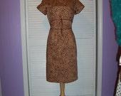 1980s Vintage  Liz Claiborne Pencil Leopard High Empire Waist Dress  Size 12