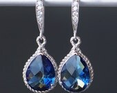 Sapphire Blue Crystal Teardrops with Silver Rope Trim on Crystal Detailed French Earrings