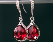 Ruby Red Teardrop Crystals Set in Silver with Crystal Detailed French Earrings
