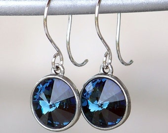 Navy Blue Swarovski Crystals Set in Silver Bezels on Sterling Silver French Earrings