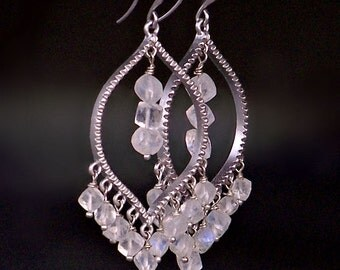 Matte Silver and Gemstone Chandelier Earrings- One Pair Left!