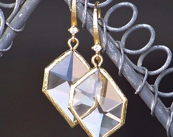 Gorgeous Clear Faceted Crystal Framed in Gold with CZ Detailed French Earrings