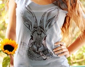 Brush Rabbit tshirt - eco-friendly brown ink screenprint on slate grey cotton scoop neck - sizes S, M, L, XL