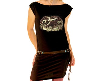 Baby Cottontail Rabbit tshirt dress - eco friendly gold and brown ink screenprint on black cotton - sizes S, M, L